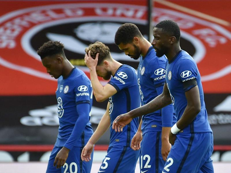 Chelsea players react at full-time after their defeat by Sheffield United: Reuters
