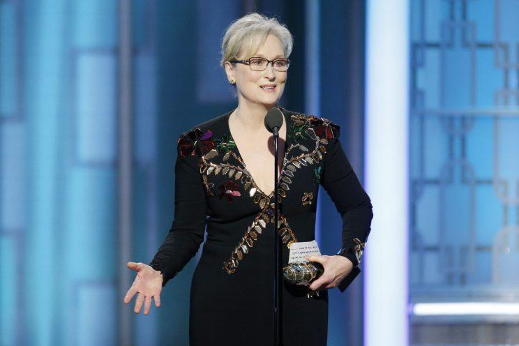 Meryl Streep speaking during the 74th Golden Globe Awards. (Photo: Getty Images.)