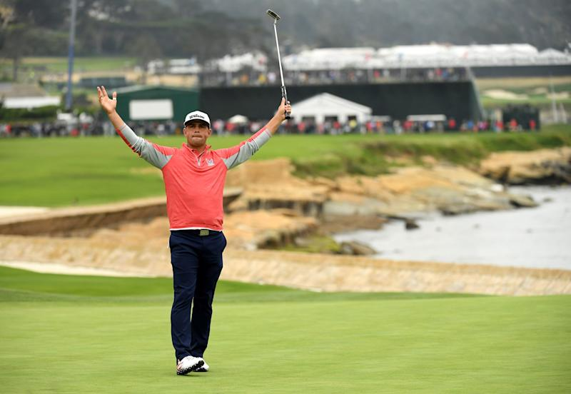 Gary Woodland celebrates on the 18th green after winning the 2019 U.S. Open.