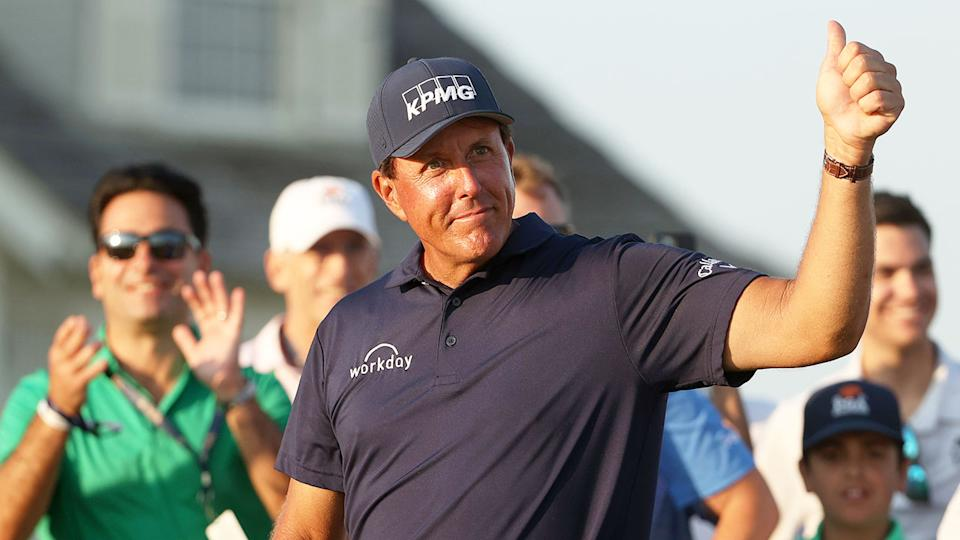 Pictured here, Phil Mickelson gives fans the thumbs up at Kiawah.