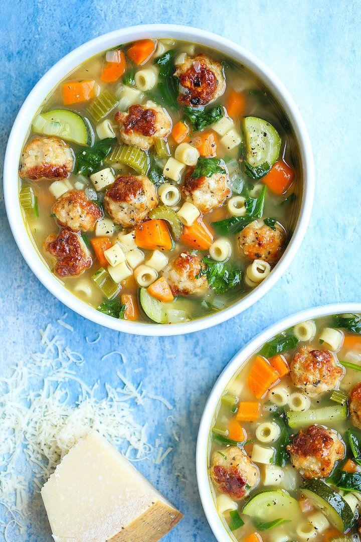 """<strong>Get the<a href=""""https://damndelicious.net/2018/06/18/summer-minestrone-with-turkey-meatballs/"""" target=""""_blank"""">Summer Minestrone with Turkey Meatballs</a>from Damn Delicious</strong>"""