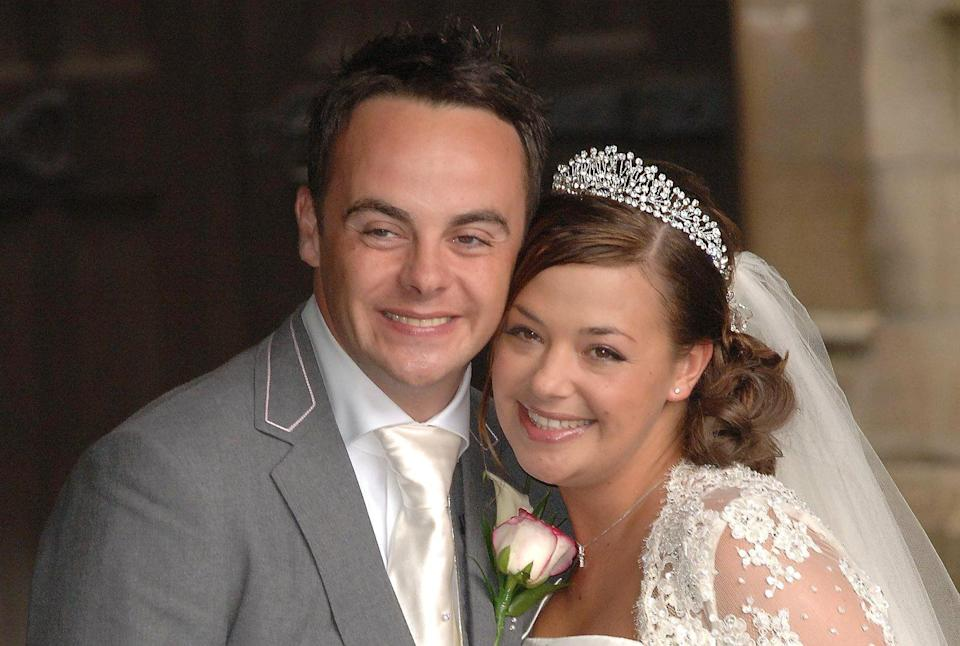 Ant McPartlin and Lisa Armstrong after their wedding at St.Nicholas Church in Taplow, Buckinghamshire. Picture date: Saturday July 22 2006.