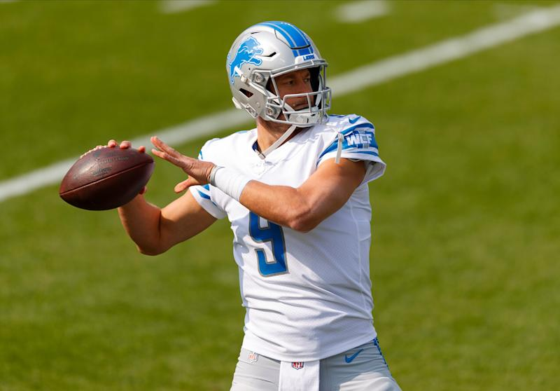 Lions quarterback Matthew Stafford throws a pass during warmups prior to the game at Lambeau Field on Sunday, Sept. 20, 2020.