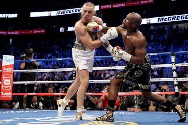 <p>McGregor made his pro boxing debut against the pound-for-pound best active boxer in the world. There was a lengthy media tour that generated animosity and helped hype the fight, which sold 4.4 million and is the second-largest pay-per-view in history behind only the 2015 bout between Mayweather and Manny Pacquiao. The bout did a staggering $55.4 million gate. While it wasn't a great fight, the interest and the hype necessitates it being on this list. </p>