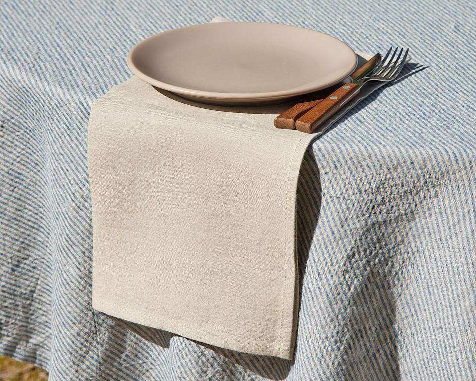 <p>Make their kitchenware extra special with these handmade <span>Ecocon Linen Linen Napkins</span> ($14-$16).</p>