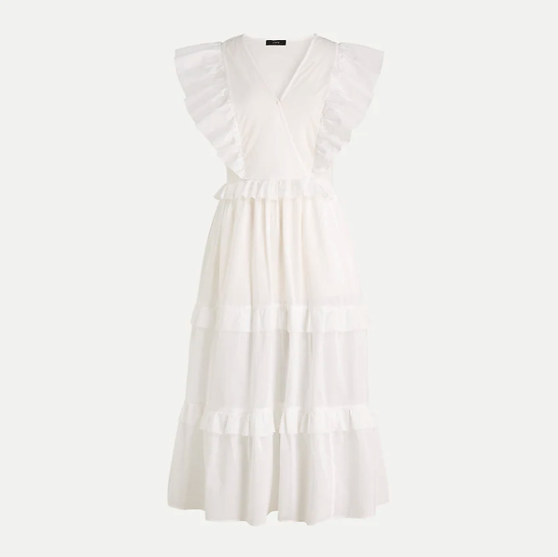 Ruffle-sleeve cotton voile dress. Image via J.Crew.