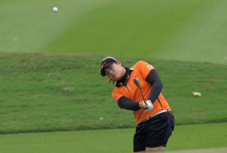 Ariya Jutanugarn of Thailand plays a shot in Pattaya on February 23, 2013