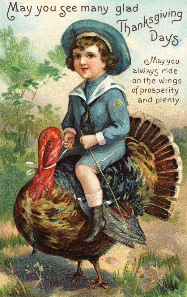 ca. 1907 — May You See Many Glad Thanksgiving Days Postcard — Image by © Cynthia Hart Designer/Corbis