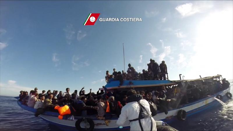Image grab from video released by the Italian Coast Guards on April 13, 2015, shows a boat of the Italian Guardia Costiera taking part in a rescue operation of migrants off the coast of Sicily (AFP Photo/)