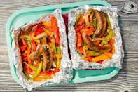 """<p>Pop these on the grill for a quick meal with easy clean-up.</p><p>Get the <a href=""""https://www.delish.com/uk/cooking/recipes/a33619841/sausage-and-peppers-foil-pack-recipe/"""" rel=""""nofollow noopener"""" target=""""_blank"""" data-ylk=""""slk:Sausage and Peppers Foil Pack"""" class=""""link rapid-noclick-resp"""">Sausage and Peppers Foil Pack</a> recipe.</p>"""