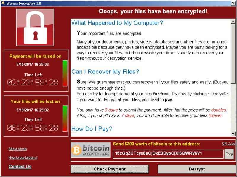 A WannaCry ransomware demand, provided by cyber security firm Symantec