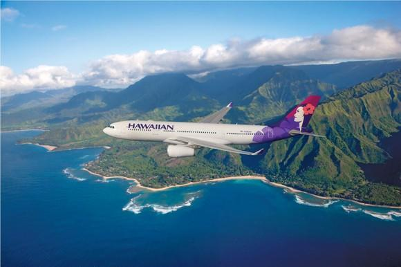 A Hawaiian Airlines plane in flight, with Hawaii in the background