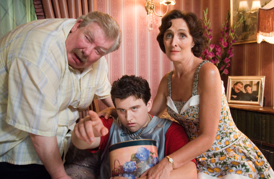 Richard Griffiths, Harry Melling, and Fiona Shaw as the Dursleys in Harry Potter and the Order of the Phoenix. (Warner Bros.)