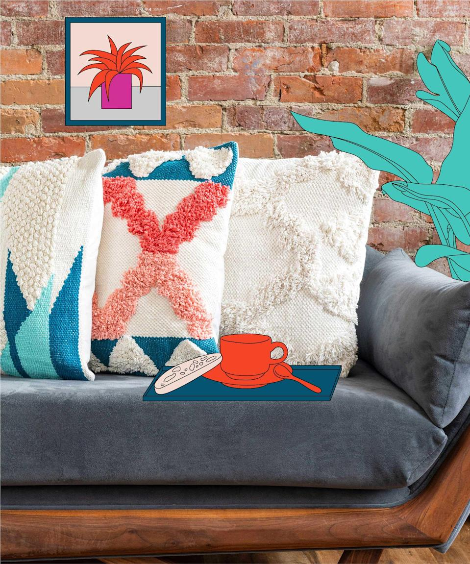 "If you're looking for decor elements that'll match your summer wardrobe, why not give these boho-print, woven accent pillows a shot? <br> <br> <strong>Refinery29</strong> Teagan Collection | 100% Cotton Luxury Pillow, $, available at <a href=""https://www.amazon.com/Refinery29-Collection-Decorative-Textured-Pillows/dp/B0831C1CMG?ref_=ast_sto_dp"" rel=""nofollow noopener"" target=""_blank"" data-ylk=""slk:Amazon"" class=""link rapid-noclick-resp"">Amazon</a> <br> <br> <strong>Refinery29</strong> Refinery29 