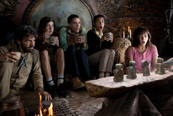 PHOTO: Eugenio Derbez, Nicholas Coombe, Jeffrey Wahlberg, Madeleine Madden and Isabela Moner star in Paramount Pictures' 2019 film, 'Dora and the Lost City of Gold.' (Vince Valitutti/Paramount)