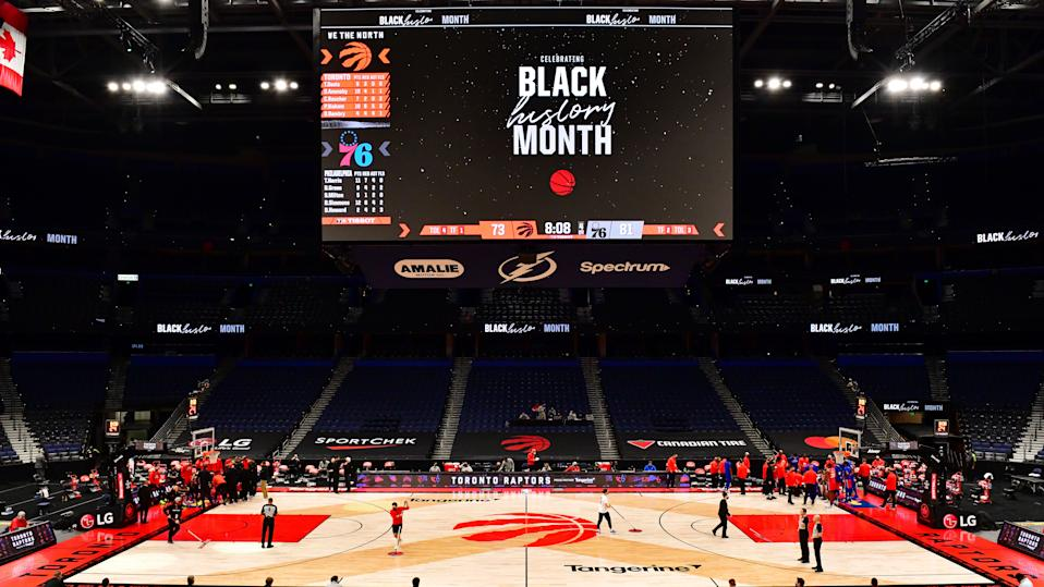 TAMPA, FLORIDA - FEBRUARY 23: A general view at Amalie Arena during the second half of a game between the Toronto Raptors and the Philadelphia 76ers on February 23, 2021 in Tampa, Florida. NOTE TO USER: User expressly acknowledges and agrees that, by downloading and/or using this Photograph, user is consenting to the terms and conditions of the Getty Images License Agreement. (Photo by Julio Aguilar/Getty Images)