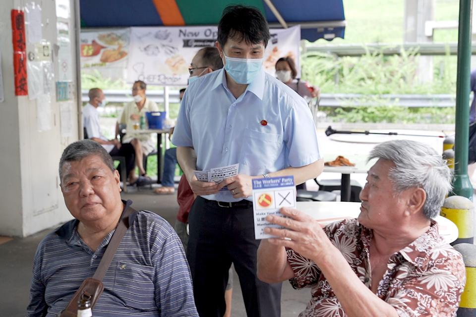 Jamus Lim, Workers' Party candidate for Sengkang GRC, seen on walkabout in Anchorvale Link on 2 July 2020. (PHOTO: Yahoo News Singapore)