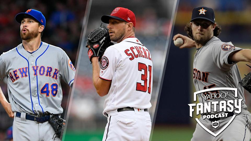 Yahoo Sports' Scott Pianowski is joined by Rotowire's Jeff Erickson to talk about the rash of top-tier pitchers struggling this April including Jacob deGrom, Max Scherzer and Gerrit Cole. (Credit: AP Photo/John Amis/Nick Wass/Chris O'Meara)