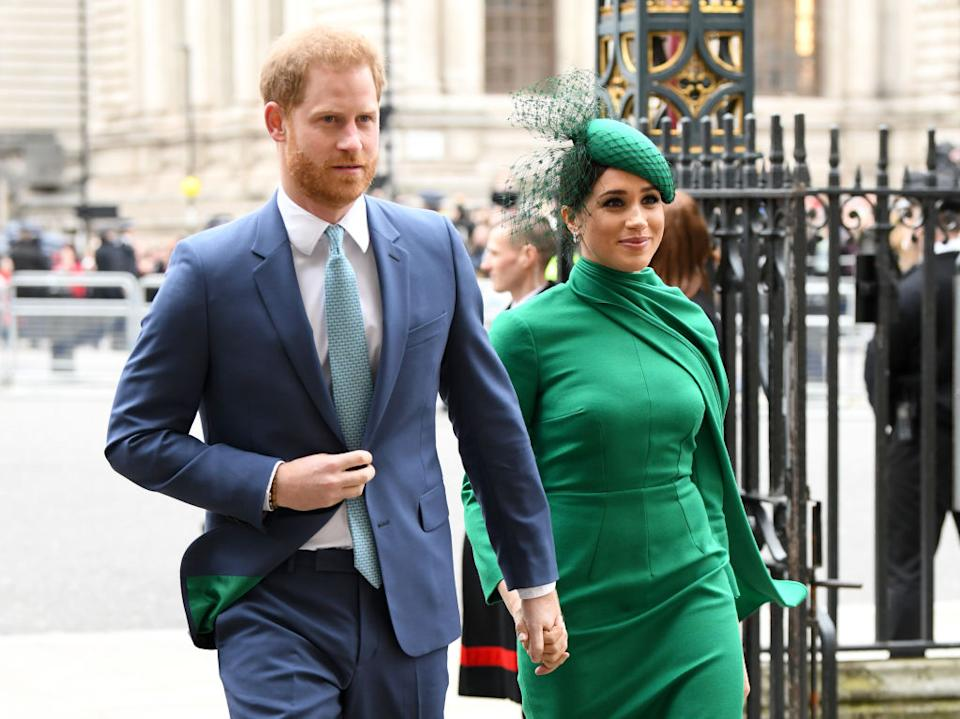 Prince Harry and Meghan Markle have shared an unseen image of a discussion with youth leaders at Buckingham Palace last week. Pictured here at the Commonwealth service earlier this week. (Getty Images)