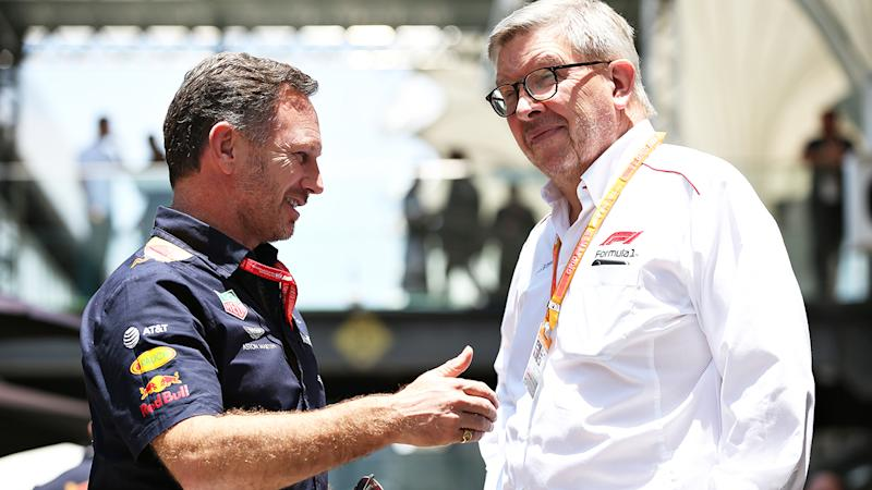 Red Bull Racing Team Principal Christian Horner and Ross Brawn, pictured here in 2019.