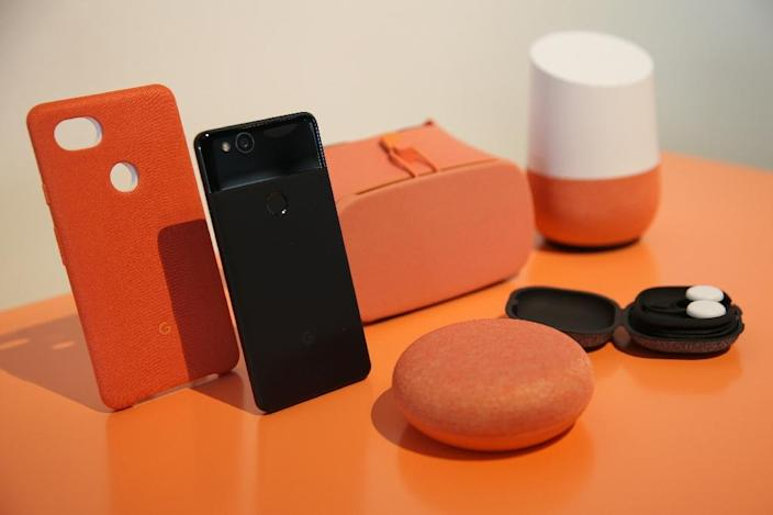 Some analysts say Google, whose connected speakers and handsets are pictured here, is better positioned for a market where smartphones will be less important (AFP Photo/Elijah Nouvelage)