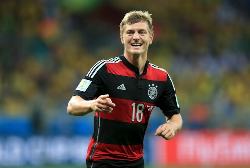 Germany's Toni Kroos celebrates scoring his side's third goal of the game during the FIFA World Cup Semi Final at Estadio Mineirao, Belo Horizonte, Brazil. (Photo by Mike Egerton/PA Images via Getty Images)