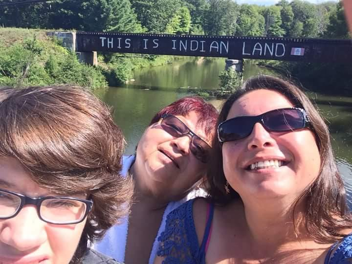 Tori Cress, co founder of Idle No More-Ontario, with her mom and son Marty in Garden River First Nation, near Sault Ste. Marie. They travelled across the country to stand with Kanahus Manuel for the one-year anniversary of the Mount Polley mining disaster and were part of a direct action disrupting the mine with a blockade at the workers entrance.