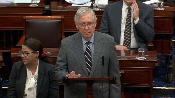PHOTO: Senate Majority Leader Mitch McConnell speaks during closing arguments during the impeachment trial of President Donald Trump, Feb. 3, 2020, at the Capitol. (ABC News)