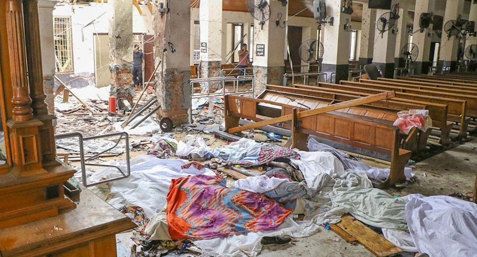 An inside view of the St Anthony's church after an explosion hit.