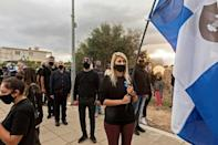 Members and supporters of the Cypriot far-right National Popular Front party protest the visit of Turkish President Recep Tayyip Erdogan to the Turkish-occupied north of the divided Mediterranean island