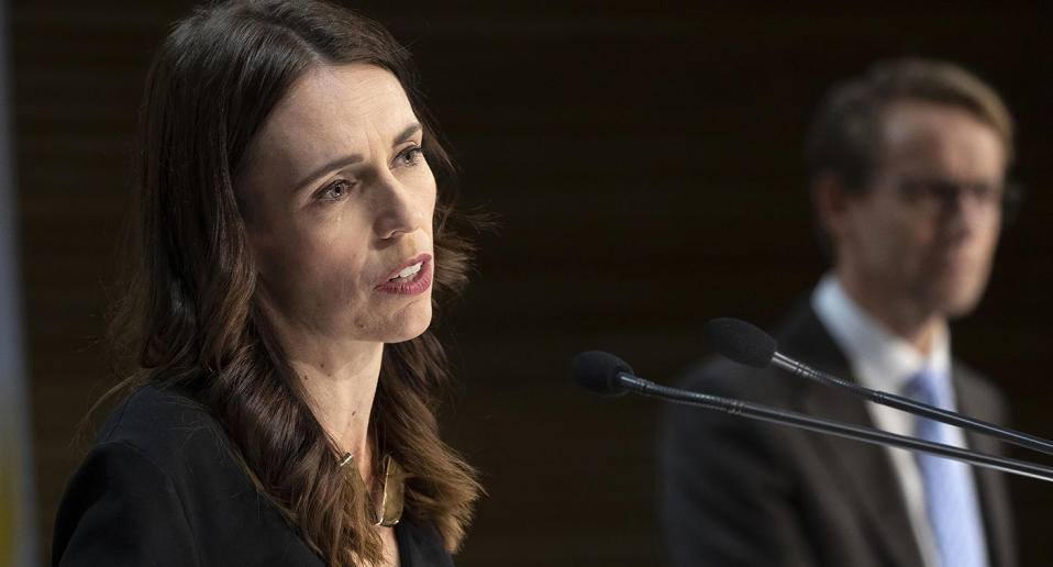 Prime Minister Jacinda Ardern during the post-Cabinet press conference with Director General of Health Dr Ashley Bloomfield in Wellington, New Zealand, Monday May 11, 2020.