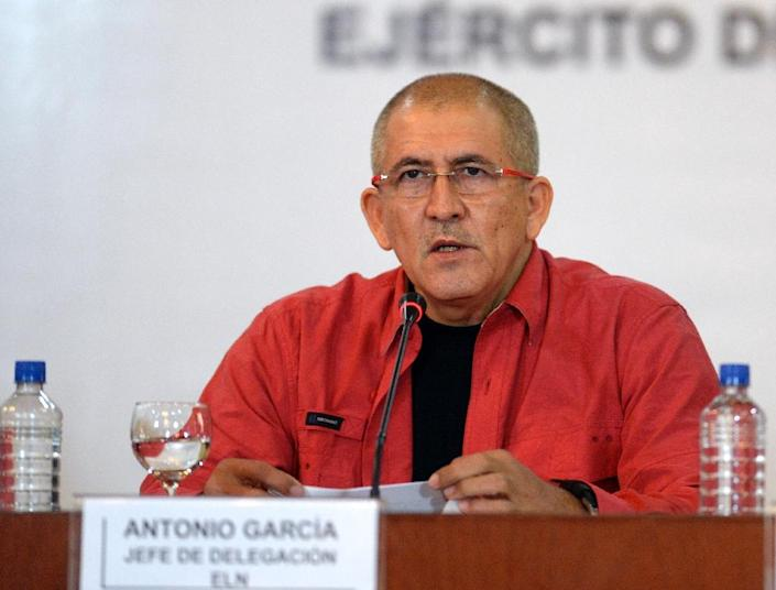The head of Colombia's ELN delegation, Antonio Garcia, speaks during the start of peace negotiations with the Colombia government, in Caracas on March 30, 2016 (AFP Photo/Federico Parra)
