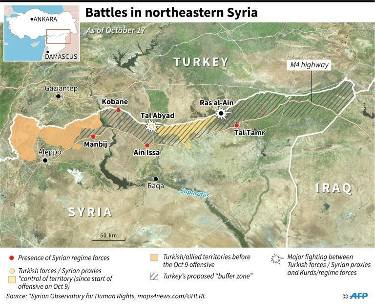 "Map locating control of territory in northeastern Syria after Turkey launched an offensive against Kurdish forces, includes Ankara's planned ""buffer zone"" and towns with presence of Syrian regime forces"