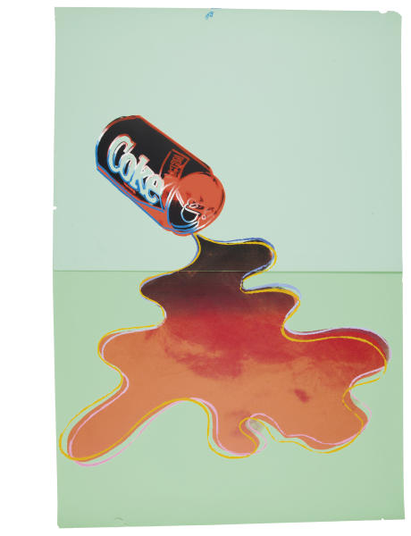 """CAPTION ADDITION, ADDS COPYRIGHT INFO - This undated photo provided by Christies's auction house in New York and The Andy Warhol Foundation for the Visual Arts, Inc. shows Andy Warhol's """"New Coke III B.44,"""" screenprint in colors, on colored graphic art paper, with a pre-auction estimate of $25,000-35,000. It is one of about 125 artworks being offered from Feb. 26 through March 5 in Christie's first online-only Warhol sale. The works can be previewed online prior to the sale. Bidders can browse, bid and receive instant updates by email or phone if another bid exceeds theirs. (AP Photo/Copyright The Andy Warhol Foundation for the Visual Arts, Inc.)"""