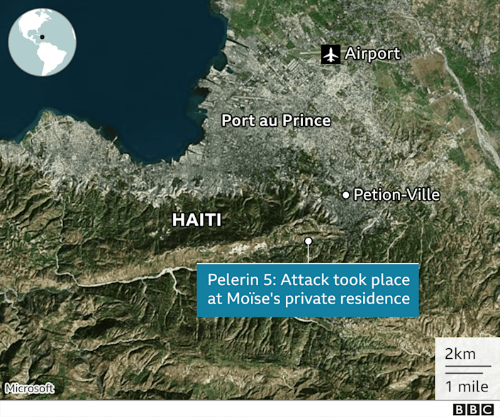 A map showing where the attack took place