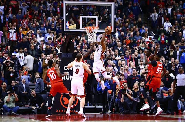 Wayne Ellington of the Miami Heat shoots the ball with seconds to go, giving Miami a thrilling win over the Toronto Raptors at Air Canada Centre. (Vaughn Ridley/Getty Images)