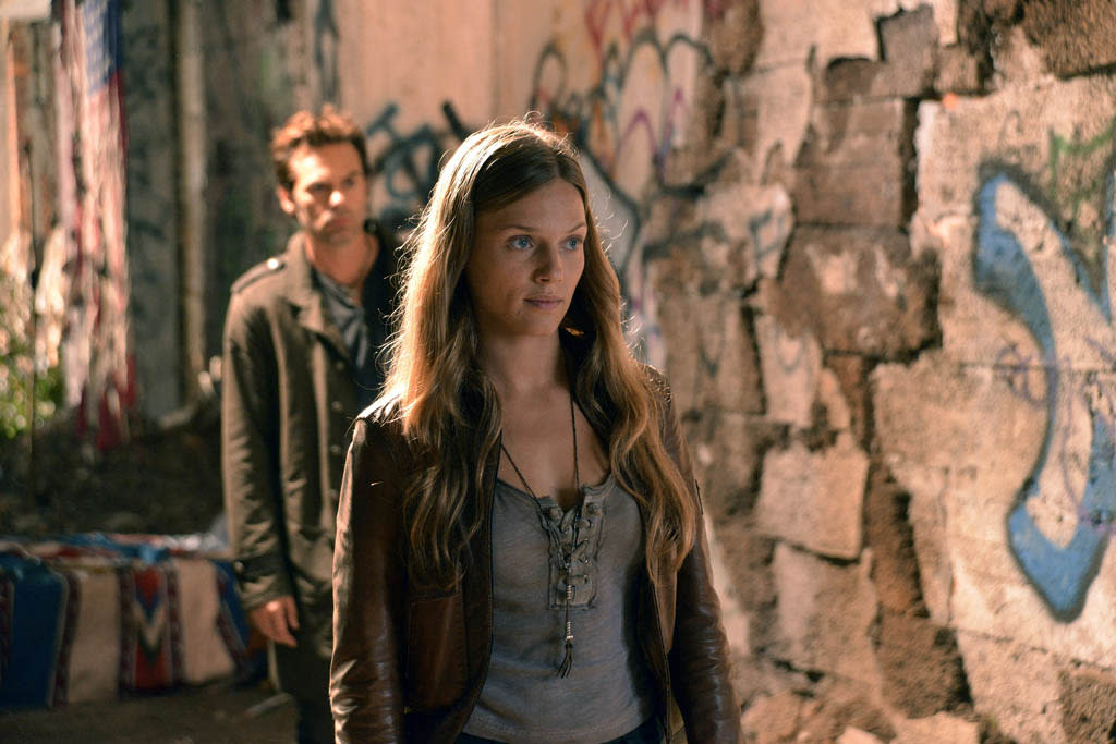 """The Children's Crusade"" Episode 107 -- Pictured: (l-r) Billy Burke as Miles Matheson, Tracy Spiridakos as Charlie Matheson"