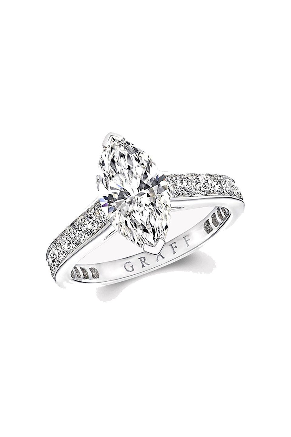 """<p><strong>Graff</strong></p><p>graff.com</p><p><strong>$21500.00</strong></p><p><a href=""""https://us.graff.com/us-en/engagement-bridal/engagement/engagement-rings/flame/flame-marquise-cut-diamond-engagement-ring/MPV01ALL_MPV01ALL.html"""" rel=""""nofollow noopener"""" target=""""_blank"""" data-ylk=""""slk:Shop Now"""" class=""""link rapid-noclick-resp"""">Shop Now</a></p><p>A bride on the hunt for a show-stopping oh-so-sparkly engagement ring will be sure to find it at Graff. </p>"""