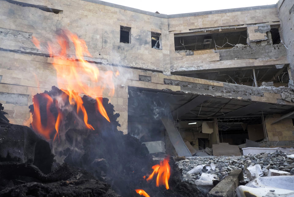 A view of a newly built natal center damaged by shelling by Azerbaijan's artillery in Stepanakert, the separatist region of Nagorno-Karabakh, Wednesday, Oct. 28, 2020. Nagorno-Karabakh officials said Azerbaijani forces hit Stepanakert, the region's capital, and the nearby town of Shushi with the Smerch long-range multiple rocket systems, killing one civilian and wounding two more. (AP Photo)