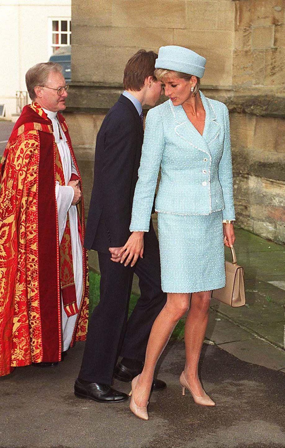 <p>In a light blue blazer, skirt and hat with nude pumps at St. George's Chapel in Windsor, United Kingdom with Prince William. </p>