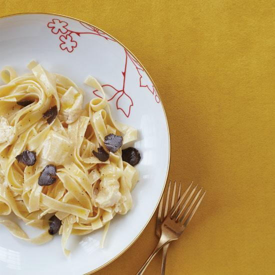 """<div class=""""caption-credit""""> Photo by: Tina Rupp</div><div class=""""caption-title"""">Pasta with Robiola and Truffles</div><b><a href=""""http://www.foodandwine.com/recipes/pasta-with-robiola-and-truffles"""">Pasta with Robiola and Truffles</a></b> <br> This indulgent first course marries three of Italy's best ingredients: egg pasta, winter truffles and Robiola Rocchetta, a creamy cheese from northern Italy, which forms the base for an incredibly rich sauce."""