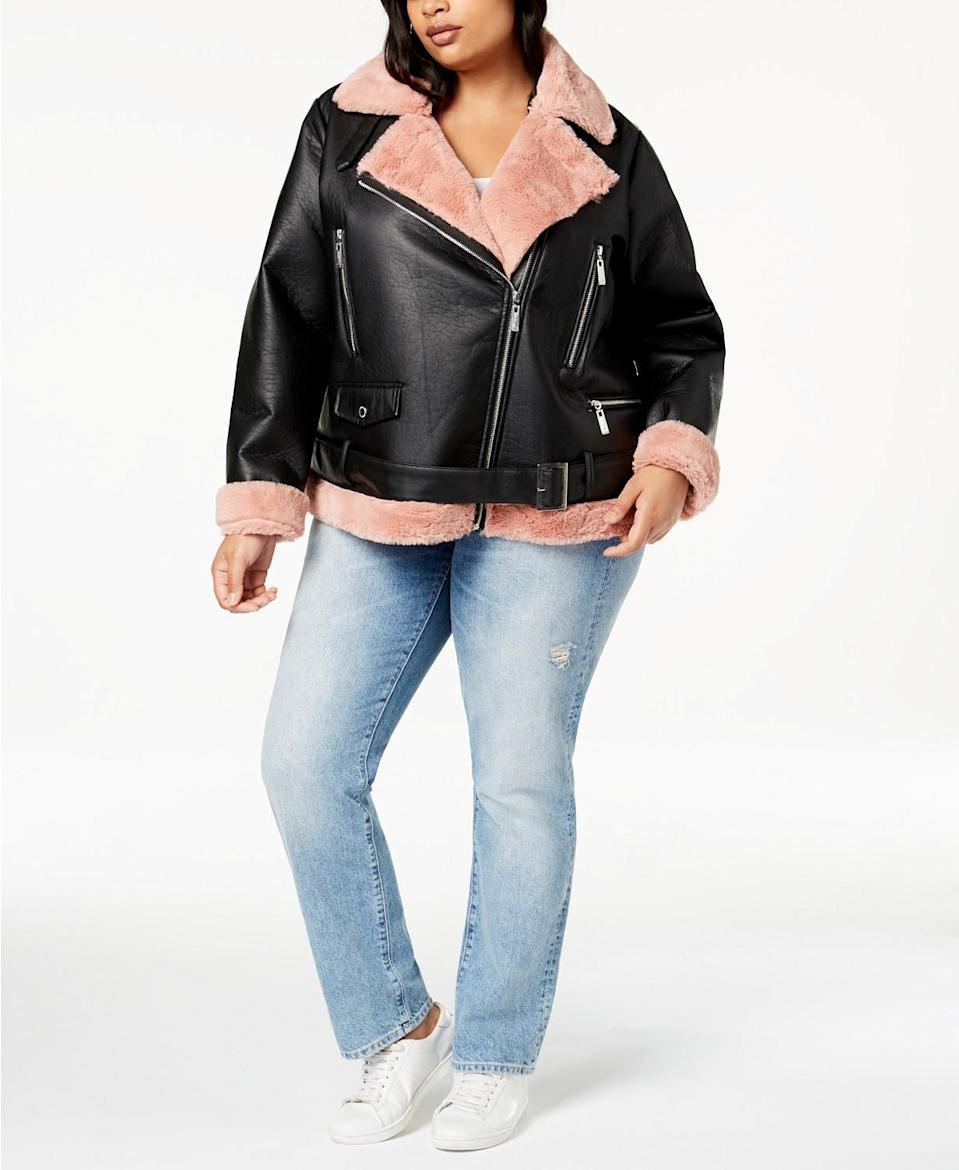 "<p>I absolutely love the silhouette of a moto jacket and fell in love instantly with this winterized pop of pink faux fur version.<br><a href=""https://go.skimresources.com?id=125078X1586062&xs=1&url=https%3A%2F%2Fwww.macys.com%2Fshop%2Fproduct%2Fjou-jou-juniors-plus-size-faux-fur-lined-moto-jacket%3FID%3D6465031%26CategoryID%3D269%26swatchColor%3DBlack%252Fpink%26swatchColor%3DBlack%252Fpink%23fn%3Dsp%253D1%2526spc%253D504%2526ruleId%253D78%257CBOOST%2520ATTRIBUTE%2526kws%253Dplus%2520size%2520coats%2526searchPass%253DexactMultiMatch%2526slotId%253D29%20"" rel=""nofollow noopener"" target=""_blank"" data-ylk=""slk:Shop it:"" class=""link rapid-noclick-resp""><strong>Shop it:</strong> </a>Plus Size Faux Fur Lined Moto Jacket, $50 (was $110), <a href=""https://go.skimresources.com?id=125078X1586062&xs=1&url=https%3A%2F%2Fwww.macys.com%2Fshop%2Fproduct%2Fjou-jou-juniors-plus-size-faux-fur-lined-moto-jacket%3FID%3D6465031%26CategoryID%3D269%26swatchColor%3DBlack%252Fpink%26swatchColor%3DBlack%252Fpink%23fn%3Dsp%253D1%2526spc%253D504%2526ruleId%253D78%257CBOOST%2520ATTRIBUTE%2526kws%253Dplus%2520size%2520coats%2526searchPass%253DexactMultiMatch%2526slotId%253D29%20"" rel=""nofollow noopener"" target=""_blank"" data-ylk=""slk:macys.com"" class=""link rapid-noclick-resp"">macys.com</a> </p>"