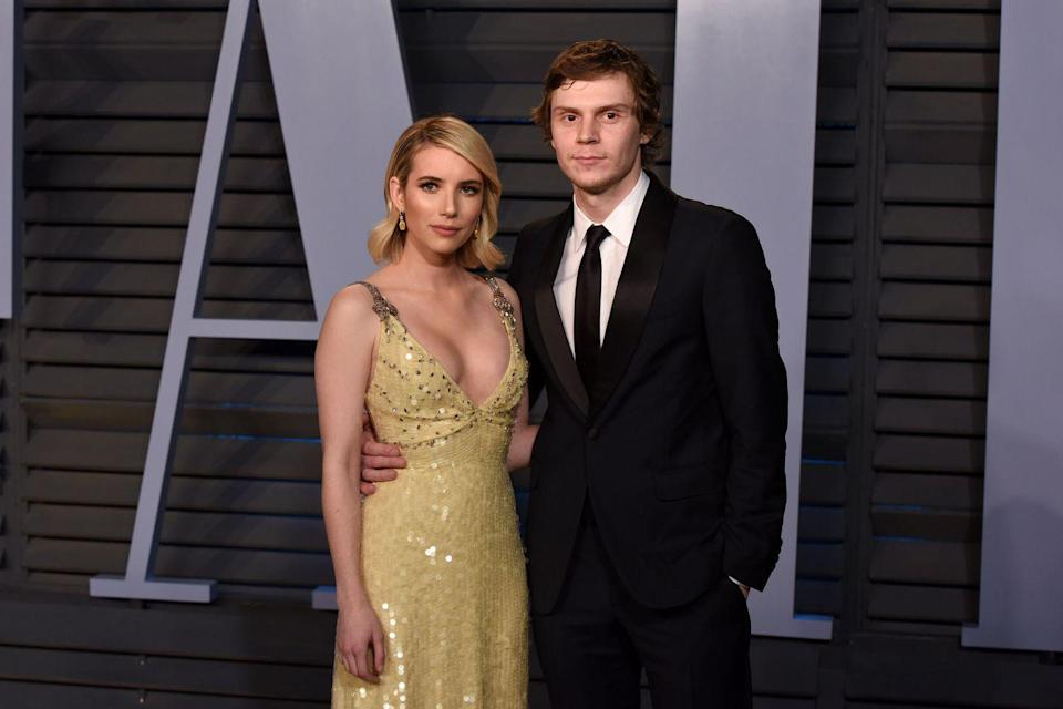 """<p>Controversial couple Evan Peters and Emma Roberts <a href=""""https://www.popsugar.com/celebrity/photo-gallery/42472134/image/42472141/Beginning?utm_source=imdb&utm_medium=partner&utm_campaign=feed"""" rel=""""nofollow noopener"""" target=""""_blank"""" data-ylk=""""slk:met in 2012"""" class=""""link rapid-noclick-resp"""">met in 2012</a> on the set of Adult World and started dating shortly after. The American Horror Story alums hit their first public speed bump when Emma was <a href=""""https://people.com/crime/emma-roberts-and-evan-peters-share-emotional-embrace-after-domestic-violence-incident/"""" rel=""""nofollow noopener"""" target=""""_blank"""" data-ylk=""""slk:arrested for domestic violence"""" class=""""link rapid-noclick-resp"""">arrested for domestic violence</a>. After their engagement in 2015, the pair <a href=""""https://www.eonline.com/ca/news/666167/emma-roberts-and-evan-peters-call-off-engagement"""" rel=""""nofollow noopener"""" target=""""_blank"""" data-ylk=""""slk:broke up"""" class=""""link rapid-noclick-resp"""">broke up</a>. They got back together, broke up, then got back together and broke up again. Today, rumors still continue to resurface as to whether or not they're still together.</p>"""