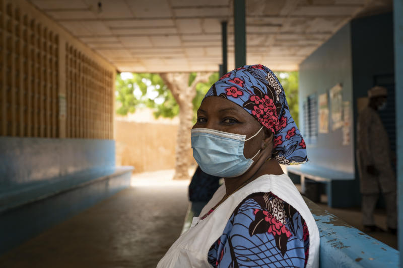 In a photo from UNICEF, Hawa Hamadou, a health worker, at the Gamkale health center in Niamey, Niger, May 26, 2020. (UNICEF via The New York Times)