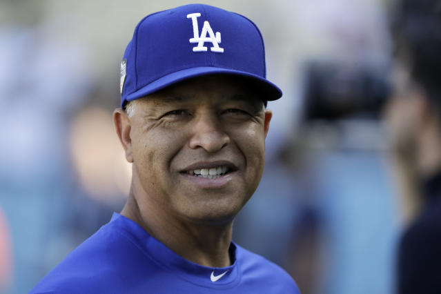 "<a class=""link rapid-noclick-resp"" href=""/mlb/teams/lad"" data-ylk=""slk:Los Angeles Dodgers"">Los Angeles Dodgers</a> manager Dave Roberts gets four-year extension through 2022. (AP Photo/David J. Phillip)"