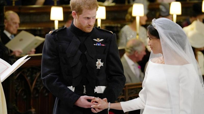 Prince Harry and Meghan Markle during their wedding service