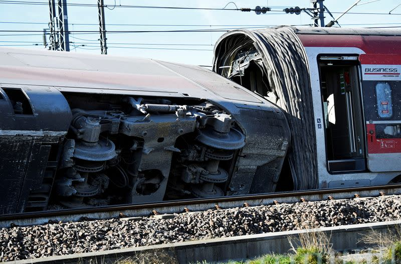 FILE PHOTO: The high-speed train derailed near Lodi, Italy