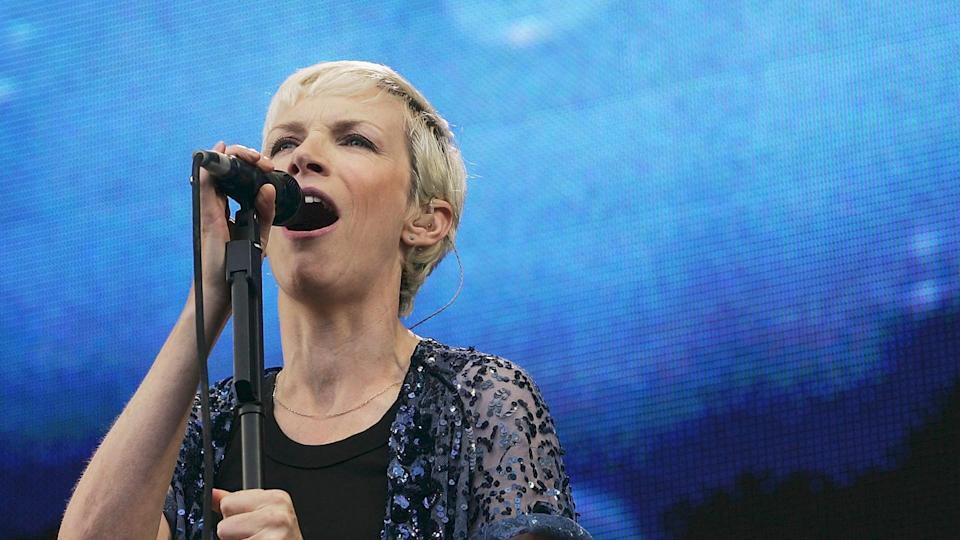 """LONDON - JULY 02: Annie Lennox performs on stage at """"Live 8 London"""" in Hyde Park on July 2, 2005 in London, England."""