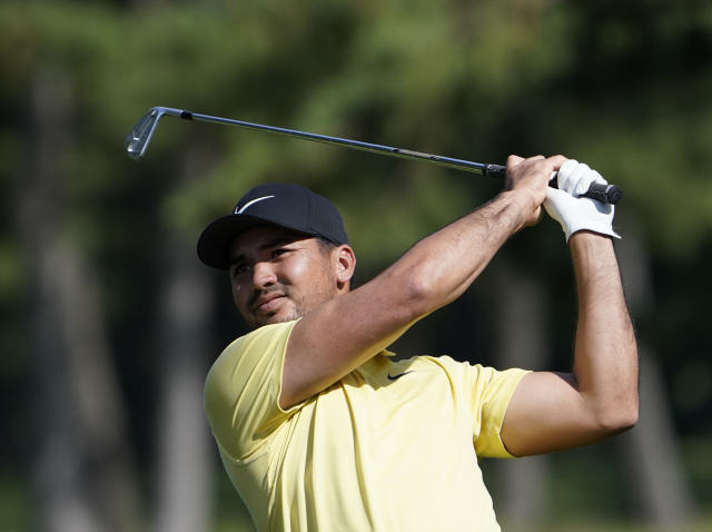 Jason Day of Australia watches his tee shot on the 5th hole during the second round of the Zozo Championship PGA Tour at the Accordia Golf Narashino country club in Inzai, east of Tokyo, Japan, Saturday, Oct. 26, 2019. (AP Photo/Lee Jin-man)