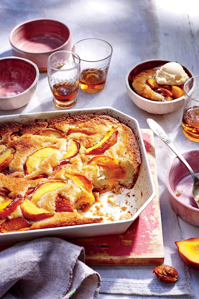 """<p><strong>Recipe: <a href=""""https://www.southernliving.com/recipes/easy-peach-cobbler-recipe"""" target=""""_blank"""">Easy Peach Cobbler</a></strong></p> <p>Let simplicity shine with this classic cobbler packed with peaches, butter, and sugar. We can't think of a more perfect ending to any summertime meal—topped with a scoop of vanilla ice cream, of course. </p>"""